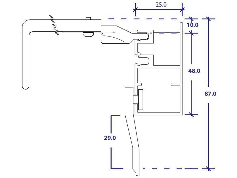 bella rod 3cm wall fix top section